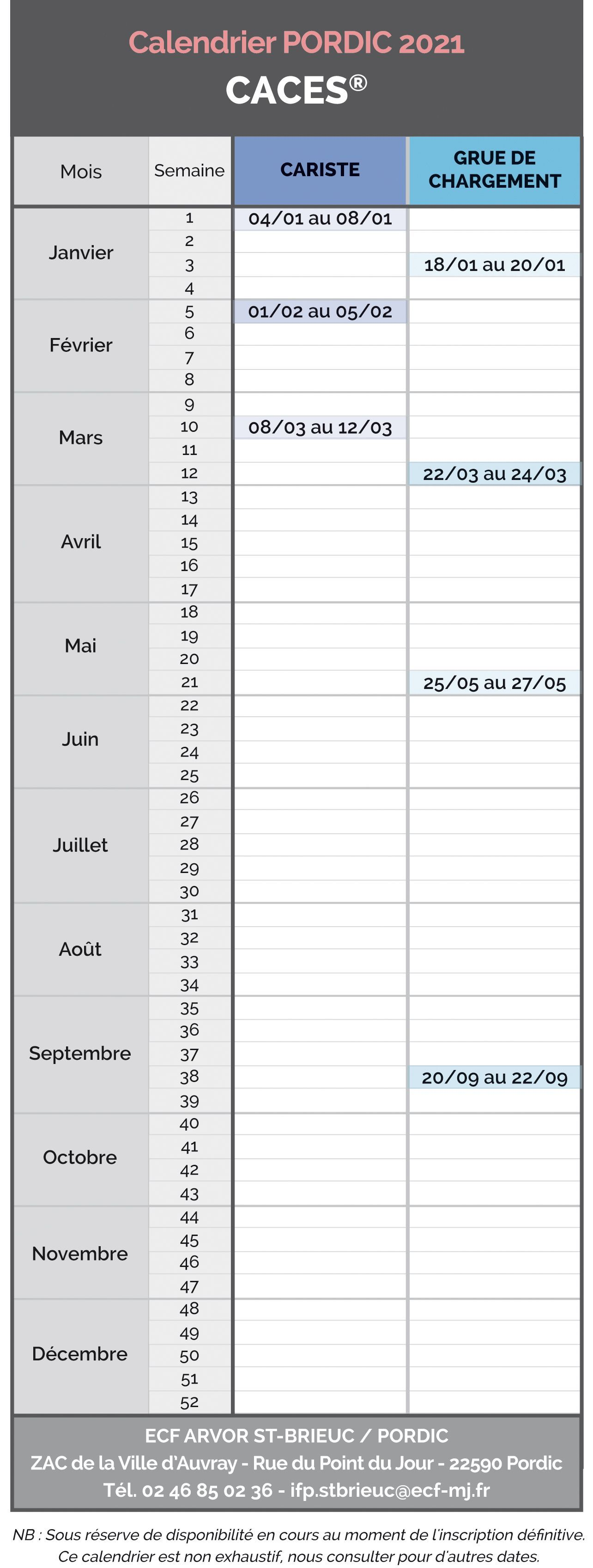 Calendrier 2021 Pordic - Caces