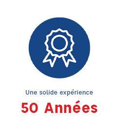 Visuel d'une médaille indiquant qu'ECF possède 50 années d'experience