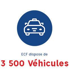 Visuel d'une voiture indiquant qu'ECF dispode de 3 500 véhicules