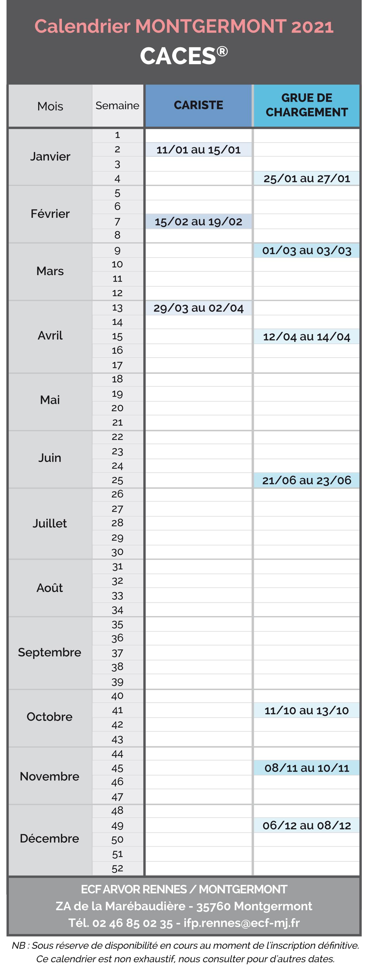 Calendrier 2021 Montgermont - Caces