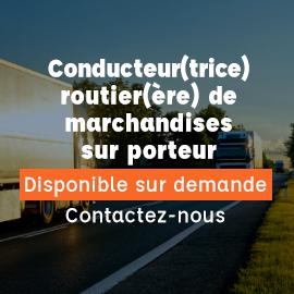 Titre professionnel conducteur transport routier de marchandises sur porteur